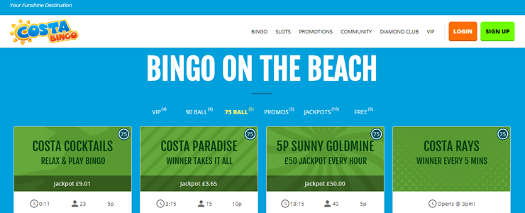 Costa Bingo Get 5 Free and a 300% bonus up to 30 on your first deposit-753