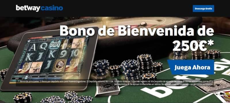 El bono de bienvenida de Betway Casino ofrece bono 500€-350