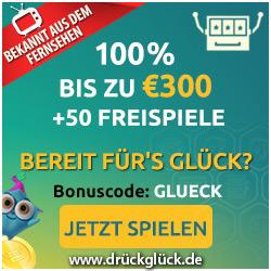 DrueckGlueck 100% Bonus 100€ Extra 50 Tiradas gratis con su primer depósito-262