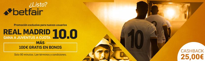 Supercuotas Betfair bono 100€ y cashback 25€-221